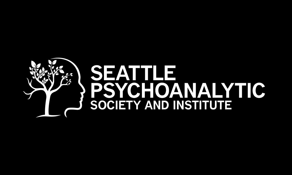 Seattle Psychoanalytic Society and Institute white logo on black background